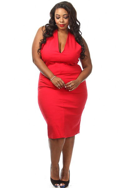 Plus Size Solid Crossback Midi Dress - PinkClubwear - 1