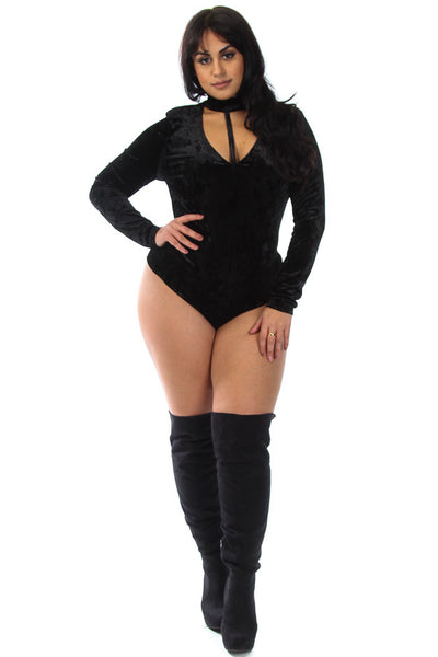 Plus Size Keyhole Velvet Long Sleeved Bodysuit