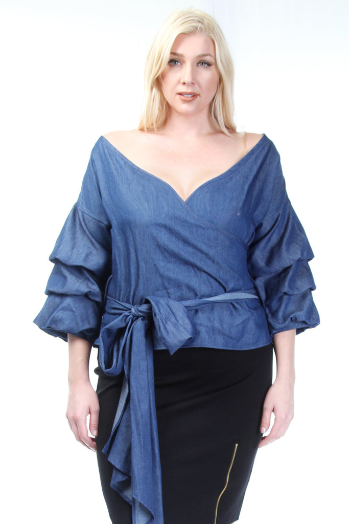 **FINAL SALE** Plus Size Ruffle Sleeved Denim Top