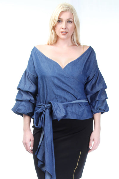 Plus Size Ruffle Sleeved Denim Top