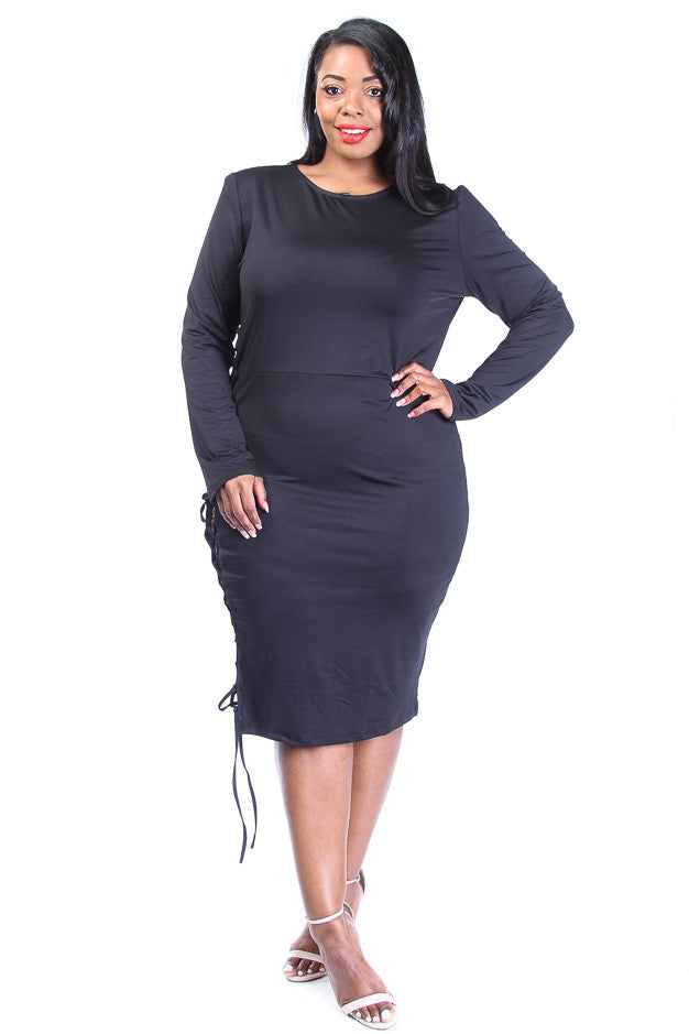 Plus Size Side Lace Up Midi Dress