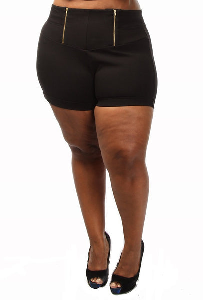 Plus Size High Waist Double Zipper Shorts - PinkClubwear - 5