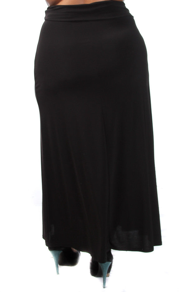 Plus Sizer Fold Over Maxi Skirt - PinkClubwear - 2
