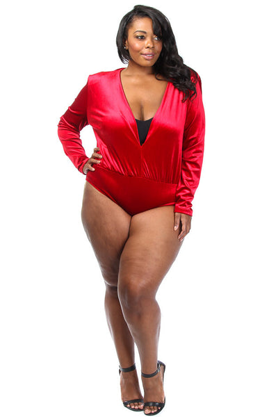 Plus Size Deep V neck Velvet Bodysuit
