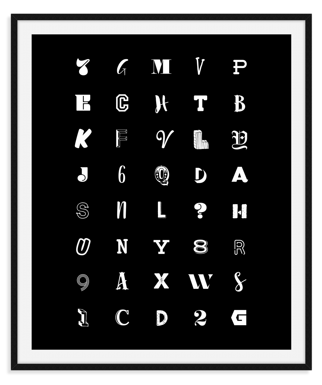 HL Print013 Letters (White on Black)