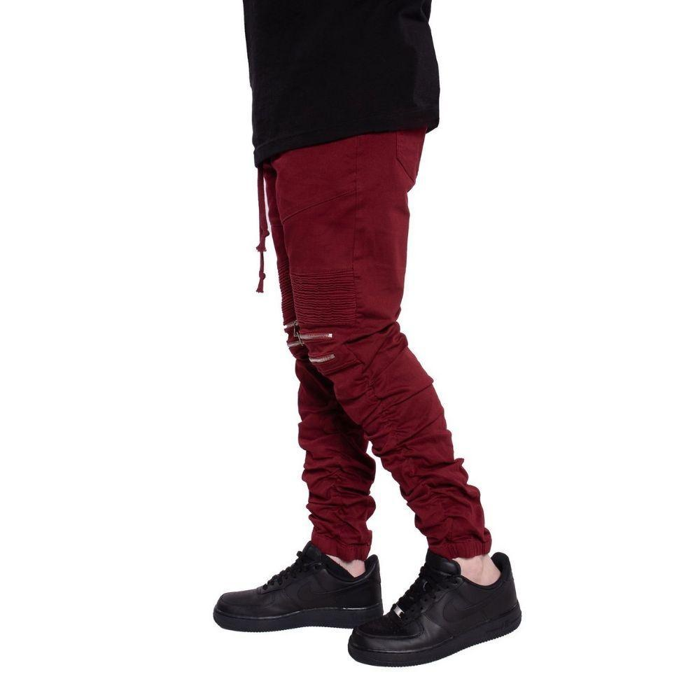 Mulisha Stacked Leg Joggers (Burgundy) Mens Joggers Seize&Desist Los Angeles