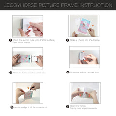 "LEGGYHORSE Decorative Puzzle Collage Picture Frame Sets (4x6"", Suction Cube Set, Set of 4)"