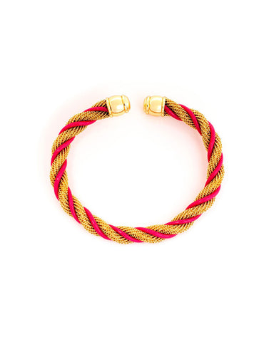 Golden Pink Strand Cuff Bracelet - Chooseberry