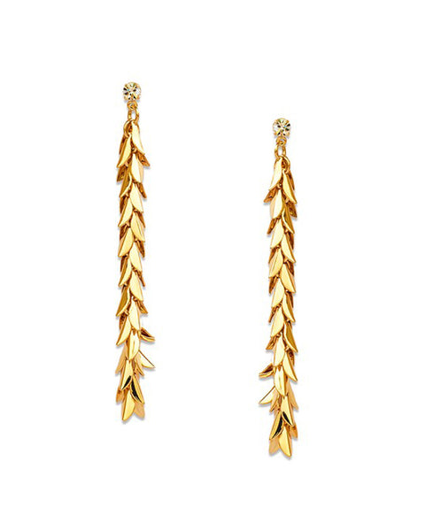 Golden Leaf Long Drop Earrings - Chooseberry