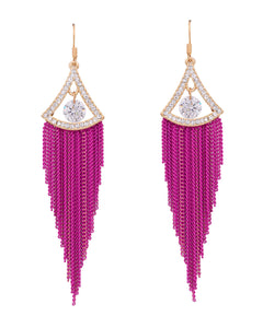 Candy Pink Long Tassel Drop Earrings - Chooseberry