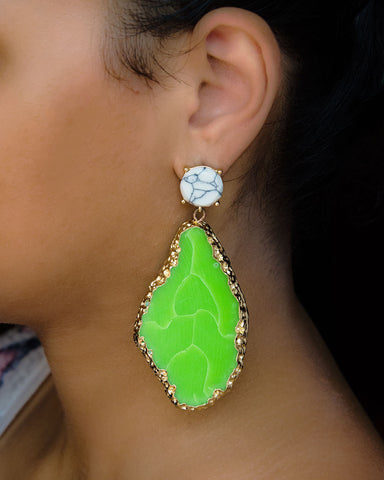 Arousy Green Earrings