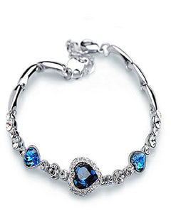 Silver Plated Heart Shaped Blue Austrian Crystal Titanic Bracelet