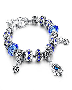 Austrian Crystal Blue Bracelet with Evil Eye & Hamsa Hand Charms