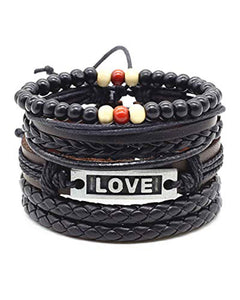 Natural Stone Beads Inspirational Words Metal Genuine Leather Bracelet
