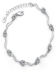 Valentine Collection American Diamond Silver Bracelet