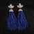 Doozie Fringe Blue Tassel Earrings
