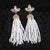 Doozie Fringe White Tassel Earrings
