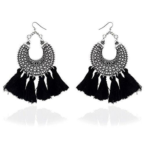 Fantasia Black Tassel Earrings