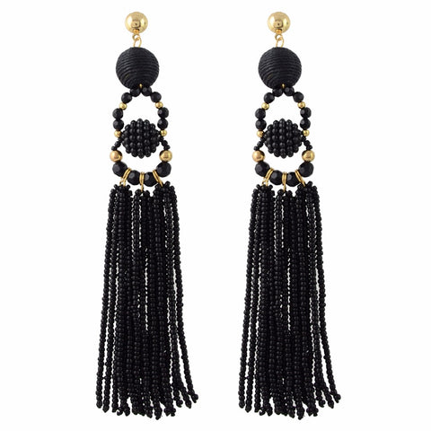 Madeleine Black Tassel Earrings