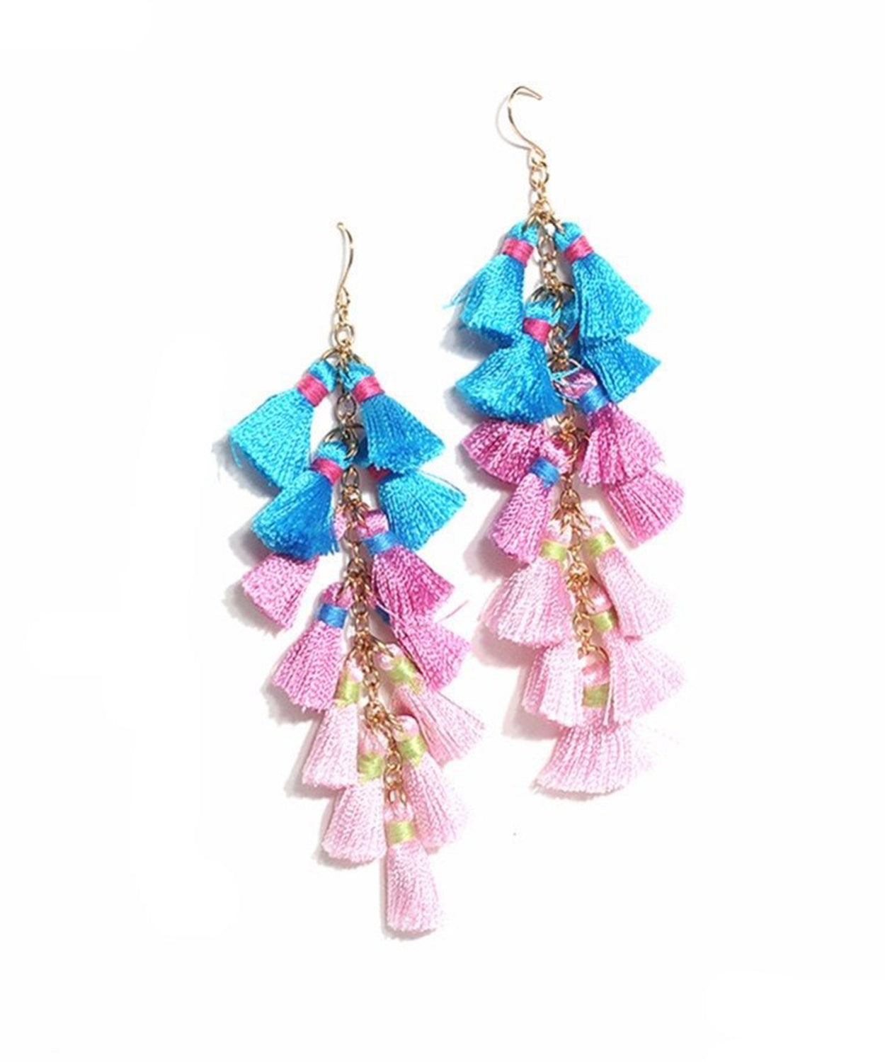 bcf4ae9d408 Contessa Blue Pink Tassel Earrings