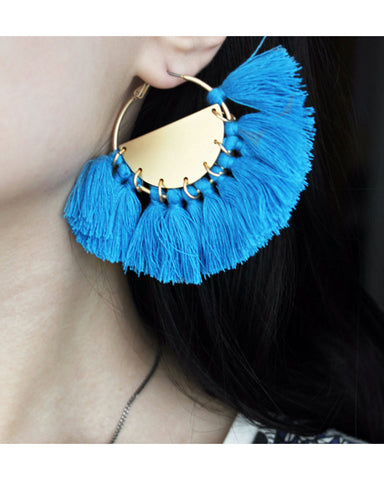 Bellatrix Blue Tassel Hoop Earrings