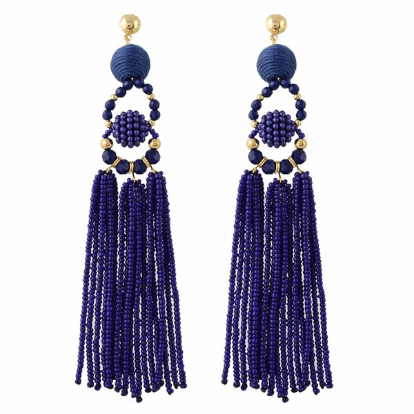 Madeleine Blue Tassel Earrings