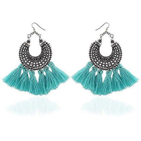 Fantasia Blue Tassel Earrings