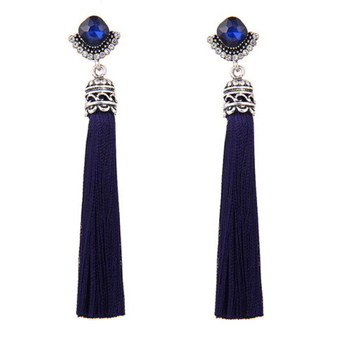 Granita Blue Tassel Earrings