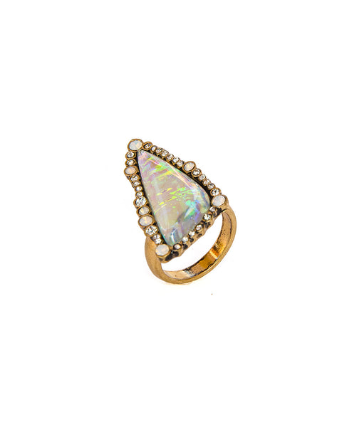 Chooseberry Geometric Big Crystal Gold Ring Online India for Girls Stylish Ethnic Party Wear