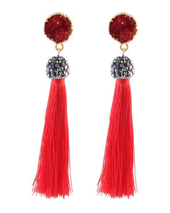 Risette Druzy Red Tassel Earrings