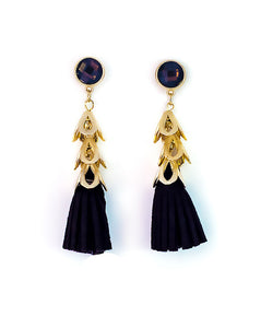 Leather Tassel Earrings Black - Chooseberry