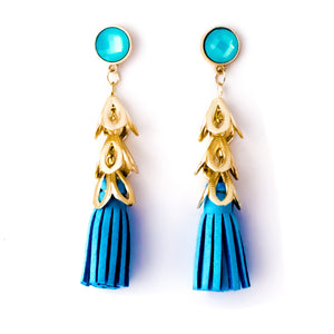 Leather Tassel Earrings Blue - Chooseberry