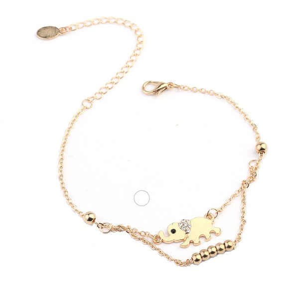 Gold Elephant Charm Anklet