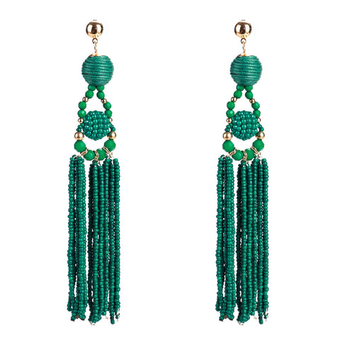 Madeleine Green Tassel Earrings