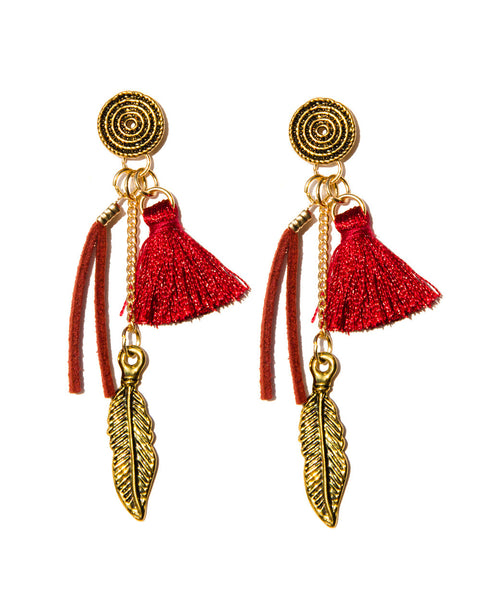 Chooseberry Antique Long Earrings with Leather and Tassel Long Drop Earrings for Girls Modern
