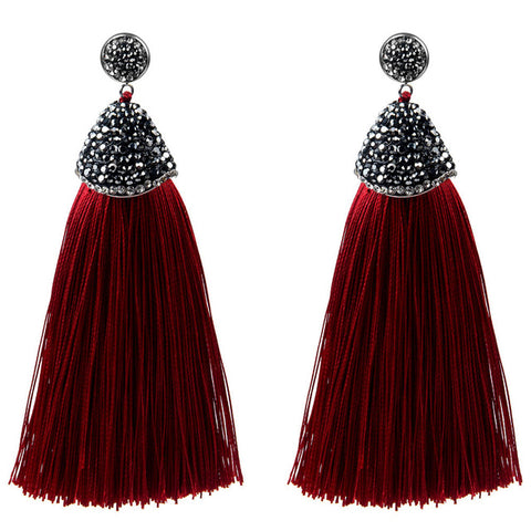 Ambrosia Maroon Tassel Earrings
