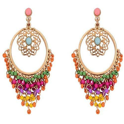 Colorpop Hoop Tassel Earrings