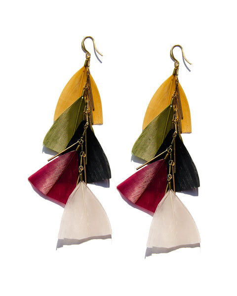 Fairie Multicolor Feather Earrings