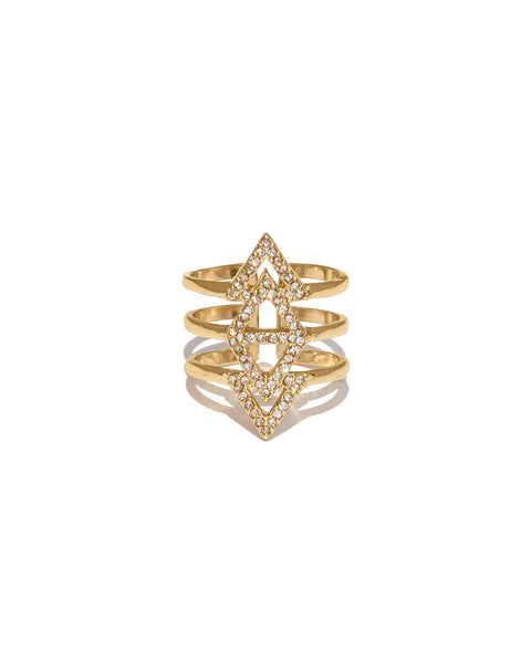Statement Gold Ring with paved Crystals from Chooseberry