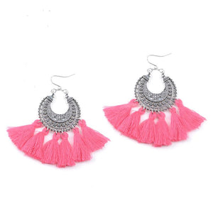 Fantasia Pink Tassel Earrings