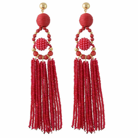 Madeleine Red Tassel Earrings