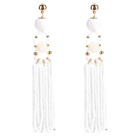 Madeleine White Tassel Earrings