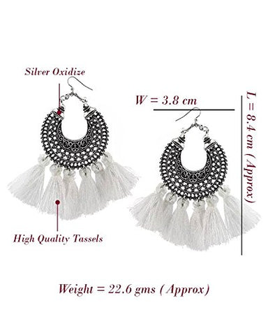Fantasia White Tassel Earrings
