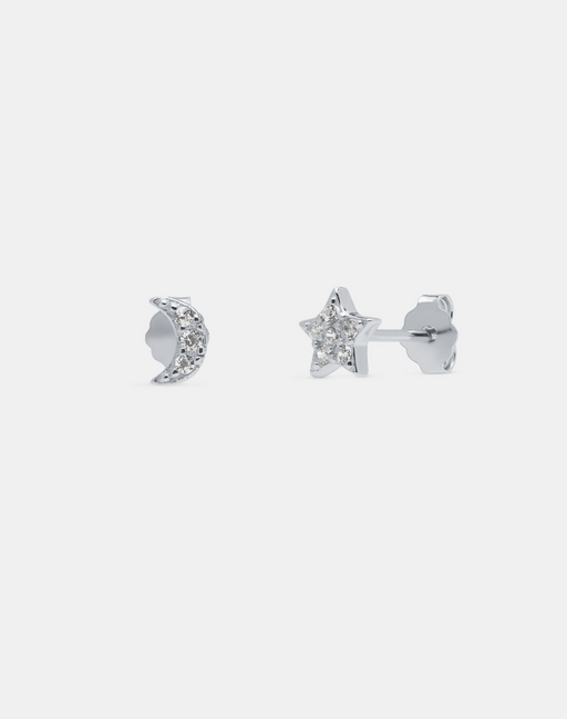 Moon and Star studs silver - Andcopenhagen.dk