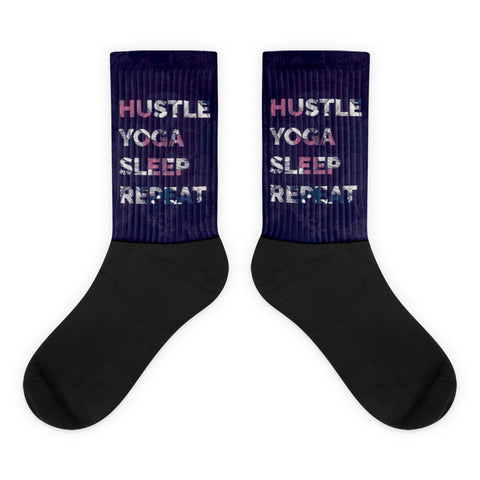 HUSTLE YOGA SLEEP REPEAT Socks