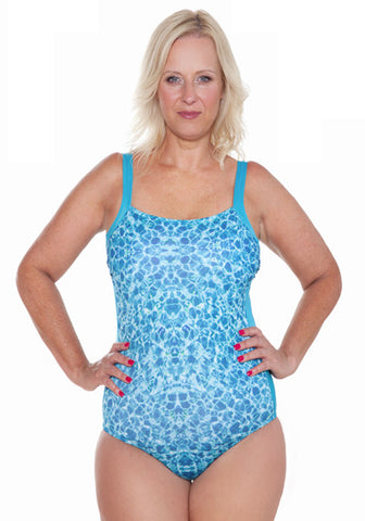 SQUARE NECK CONTRAST PANELSLED ONE PIECE