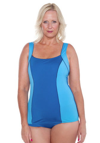 COLOUR BLOCK SKIRTED ONE PIECE