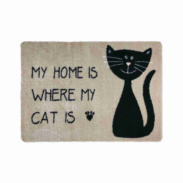 Fußmatte Katze • rutschfest • 3 Größen und 7 Motive-Fußmatten mit Motiven-deco-mat-My Home is where my cat is-40 cm x 60 cm-Wohndirect - Fußmatten, Badematten und mehr