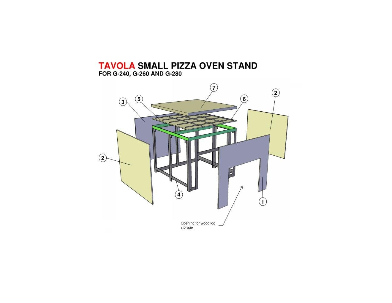 TAVOLA SMALL PIZZA OVEN STAND FOR G-240, G-260 AND G-280
