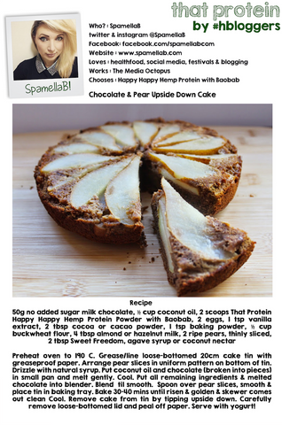 SpamellaB - Chocolate and Pear Upside Down Cake with that protein. March 9th 2015
